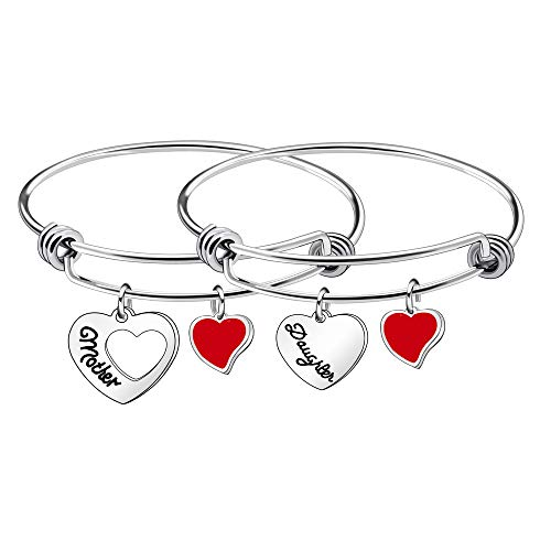 Pulsera para madre e hija para mujer, niña, regalo de amor familiar, joyería en forma de corazón