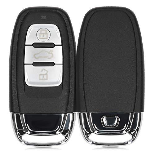 kwmobile Autoschlüssel Gehäuse kompatibel mit Audi 3-Tasten Autoschlüssel Keyless - ohne Transponder Batterien Elektronik - Auto Schlüsselgehäuse - Schwarz