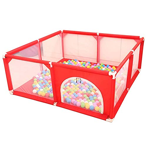 Parc pour Enfants Baby Play Fence with Mat, Respirable Mesh Easy Safety Fence, Maintain a Clean and Tidy Home (Color: Red)