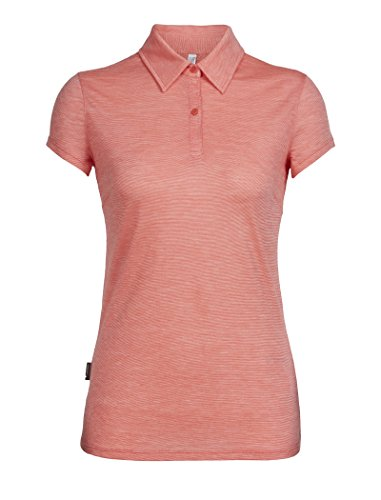 icebreaker Merino Cool-Lite Sphere Damen-Poloshirt, kurzärmelig, Tulpen/Schnee/Streifen, Größe XL