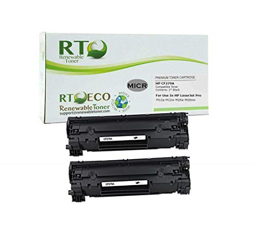 Renewable Toner Compatible MICR Toner Cartridge Replacement for HP 79A CF279A Laserjet M12 M26 (2-Pack)