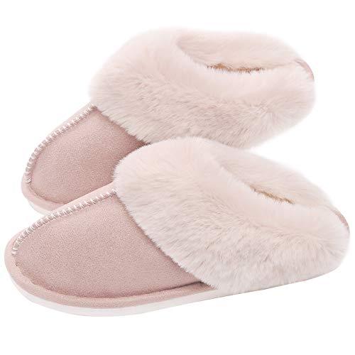 SOSUSHOE Womens Slippers Memory Foam Fluffy Fur Soft Slippers Warm House Shoes Indoor Outdoor Winter, Beige, 7-7.5 B(M) US