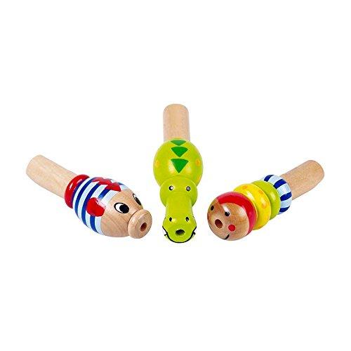 Goki 61972 Goki Miniflöte 'Tiere' aus Holz, L= 7,8 - 9,9 cm (Modell zufällig, 1 Stück)