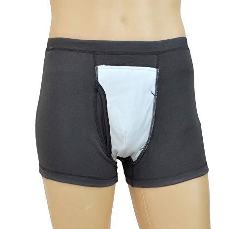 Wasbare urine-incontinentie Boxer-onderbroek - Herbruikbare luiers voor volwassenen met absorberend oppervlak vooraan - Doekluier met speciale behoeften,M