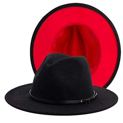 Eric Carl QIUBOSS Trend Red Black Patchwork Wool Felt Jazz Fedora Hat Casual Men Women Leather Band Wide Brim Felt Hat