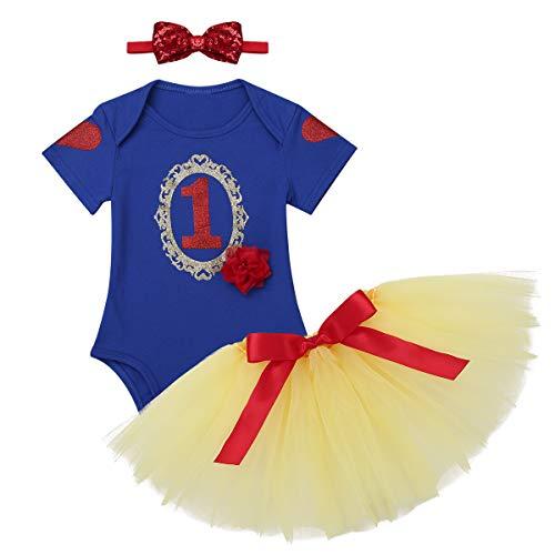 inlzdz Bebé Niñas Vestido de Tutú Princesa Vestido para Primer Cumpleaños Fiesta Bautismo 3Pcs Mameluco de Algodón+Falda de Malla+Tocado
