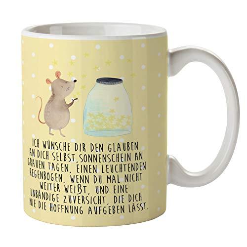 Mr. & Mrs. Panda Büro, Kaffeebecher, Tasse Maus Sterne mit Spruch - Farbe Gelb Pastell