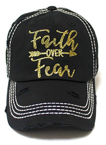 Women's Baseball Cap Faith Over Fear Glitter Monogram Hat, Vintage Black