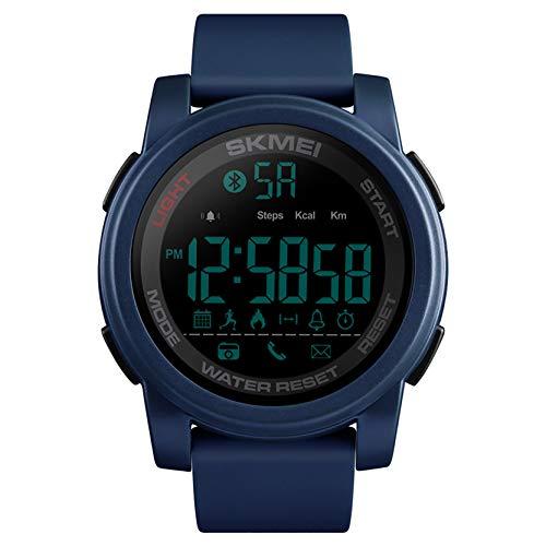LHWQAN Reloj Deportivo al Aire Libre, Reloj de Moda multifunción Bluetooth Smart Watch, Contador de Pasos Deportivos, recordatorio de Llamadas, Sistema de 12/24 Horas Blue