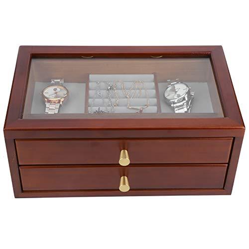 Joyeros de 2 niveles, caja de almacenamiento de joyería de madera, organizador de joyas tapa de cristal con 2 cajones para anillos, relojes, pendientes, collares 31,3 x 19,4 x 13,5 cm