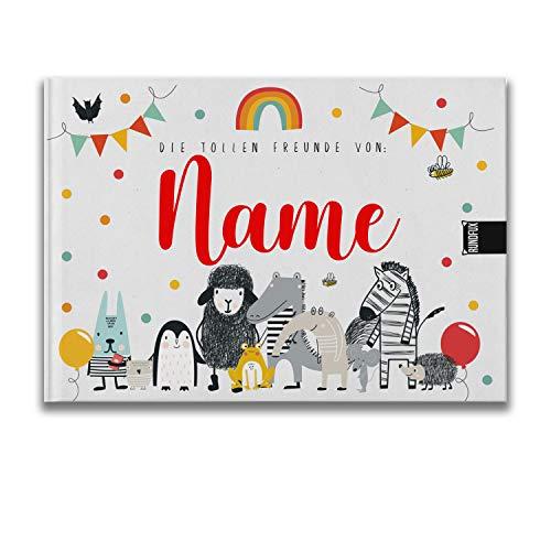 Das große Freundebuch für 39 Freunde mit Tieren | Personalisiert mit Wunschnamen - Tolles Geschenk für Schule und Kiga | Mädchen und Jungs