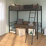 Metal Loft Bed Frame, Twin Loft Bed with Full Length Rails & Inclined Ladder, Twin Bed Frame with Large Space Design for Teens Adults, 12 Metal Slats for Great Support, No Spring Box Needed