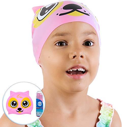 AqtivAqua Divertente Cuffia da Nuoto per Bambini e Bambine (età 2-9 Anni) + Custodia a Cilindro (Colore Rosa)