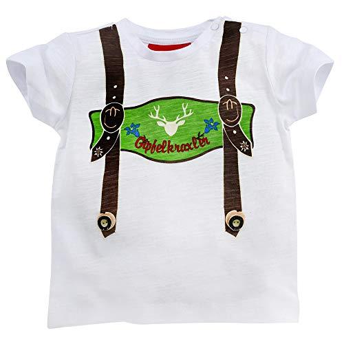 BONDI klederdracht bretels T-shirt topper met hertenmotief - wit - jongens kleding voor leren broek