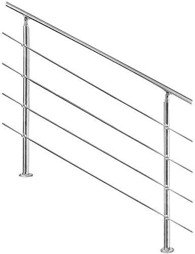 XHCP Edelstahl-Treppenhandlauf, für Innen-Außen-Balkon, 4 Querstange, 2 Pfosten, mit Montagesatz