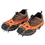 VGEBY 2Pcs Zapatos de crampones, 19T Zapatos Antideslizantes para Nieve Crampones Tacos de Hielo para Escalada en Hielo (Naranja Talla L)