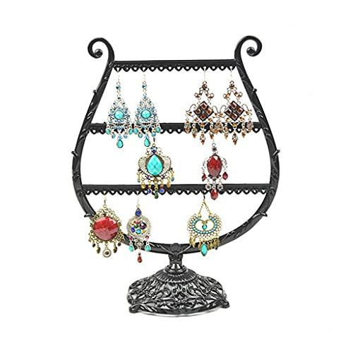 Aiglen Estante de exhibición de pendientes de hierro forjado estante de exhibición de joyería estante estante de joyería estante estante de joyería metal (color: B)
