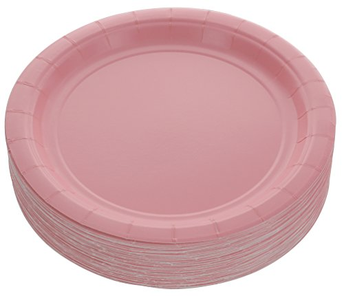 Amcrate Pink Disposable Party Paper Dessert Plates 7' - Ideal for Weddings, Party's, Birthdays, Dinners, Lunch's. (Pack of 50)