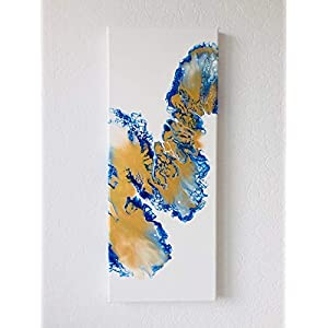 Acryl Pouring Bild I 20 x 50 x 1,9 cm/original handgemaltes Einzelstück I weiß, blau, gold I Leinwand auf Keilrahmen I…