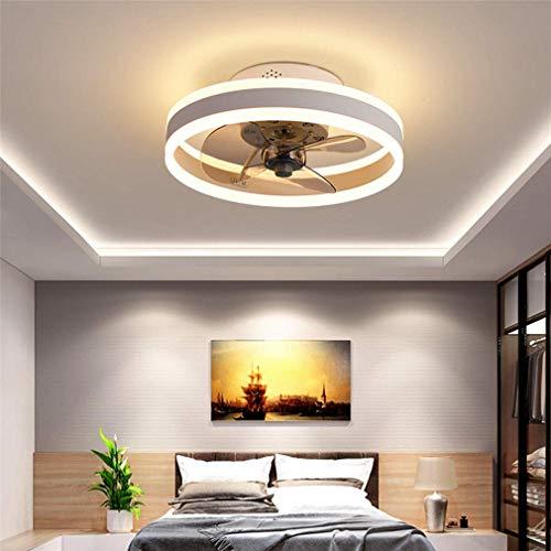 Ventilador de luz de techo, ventilador de techo silencioso con iluminación y control remoto, luces de techo ultrafinas de 16,5 cm, luz colgante de ventilador regulable de 24 W, color blanco