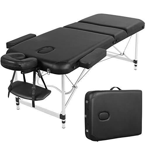 Yaheetech Table de Massage Pliante Professionnelle 3 Section 70 x 213 cm avec Cadre en Aluminium Lit de Massage Portable à Hauteur Réglable Repose-tête Ergonomique pour le Massage Spa Tatouage