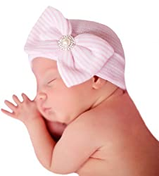 Infant Baby White Cap with Big Ribbon Bow and Rhinestone