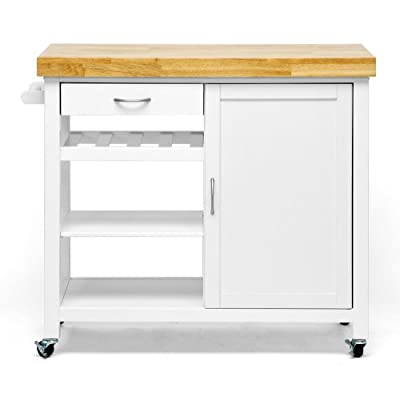 Baxton Studio Denver Modern Kitchen Cart/Island with Butcher Block Top, Natural, White from Wholesale Interiors