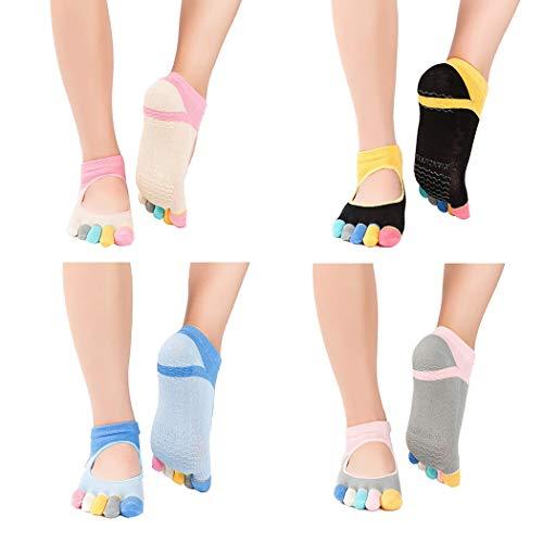 ZOYLINK 4 Paar Baumwoll Zehensocken Neuheit Soft Workout Socken Ballettsocken für Frauen