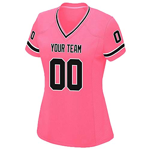 Custom Women's Pink Mesh Football Game Jersey Embroidered Team Name and Your Numbers,Black-White Size XXL