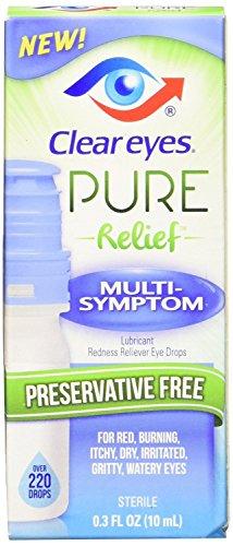 Clear Eyes | Pure Relief | Preservative Free Eye Drops | Multi-Symptom | 0.34 FL OZ