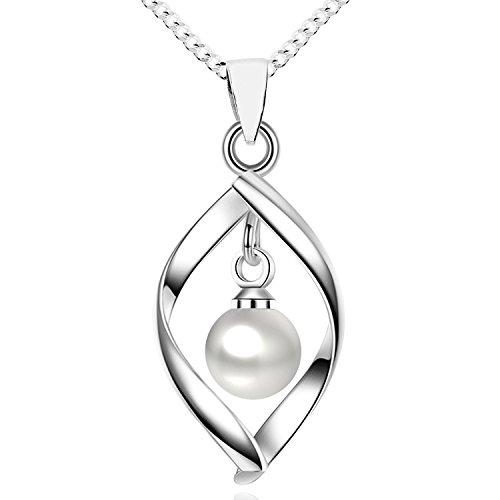 MYA art Damen Halskette Kette 925 Sterling Silber Tropfen mit Perlen Anhänger Collier Perlenkette Creme Weiß Brautschmuck MYASIKET-88