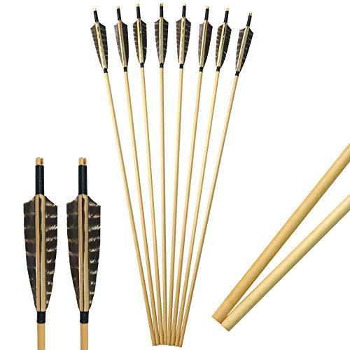 SHARROW 12 Stück Holzpfeile für Bogenschießen 31