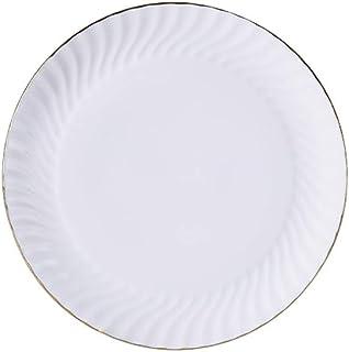 Dinnerware لوحات الغداء الأبيض لوحات العشاء الخزف الذهب انعقدت خدمة الأطباق العائلة Dining (Color : White a, Size : Medium)