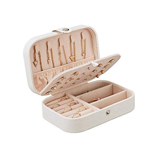 Kitchnexus Kleine Schmuckkästchen Schmuckbox aus PU-Leder, Kleines Tragbar Reisen Schmuckkasten, Geschenk für Mädchen und Damen - Weiß