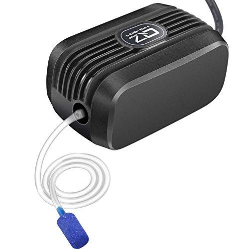 IREENUO Aquarium Luftpumpe, Aquarienluftpumpe 150L/H pro Luftstein Einstellbarer Luftstrom, Weniger als 40dB Aquarium Sauerstoffpumpe (1.5W - 2 Luftauslässe)