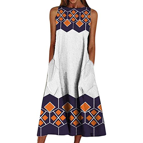 Women Summer T-Shirt Dress Big Swing Pocket Maxi Dress Beach Cami Dress Print Beach Holiday Dress Sleeveless Sling Dress O Neck Casual Maxi Dress White