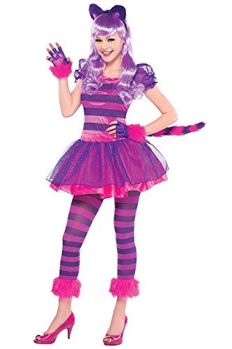 Cute Lila Wunderland Grinsekatze Teens Fancy Kleid Kostüm mit Schwanz/Kopfband/Pfoten/Strumpfhosen