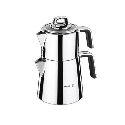 Korkmaz Vertex Capsulated Turkish Tea Pot with Safe Lid Locking System - 1.1 & 2 Quart