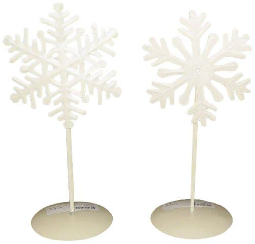 Craft stopcontact wit doos sneeuwvlok op standaard tafel top set, 15 inch