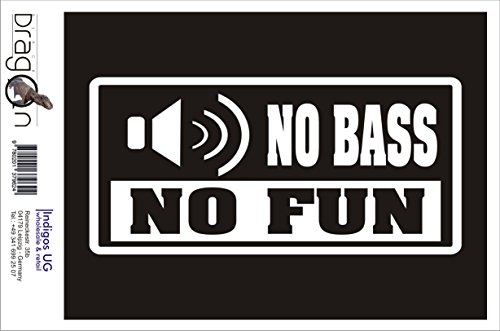 INDIGOS UG Aufkleber Autoaufkleber - JDM Die Cut Auto OEM - No Bass no Fun - 210x100mm schwarz - Auto Laptop Tuning Sticker Heckscheibe LKW Boot