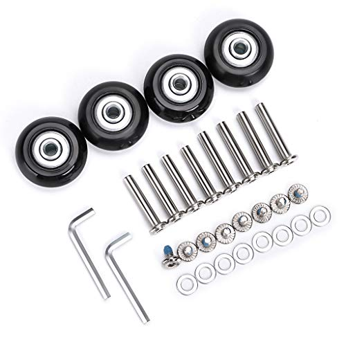 OwnMy 45mm x 18mm Luggage Suitcase Replacement Wheels, Rubber Swivel Caster Wheels Bearings Repair Kits, A Set of 4