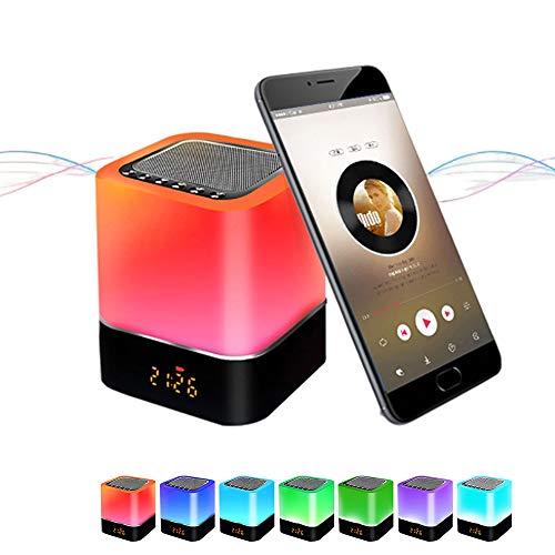 Luces nocturnas Altavoz Bluetooth, Despertador Altavoz Bluetooth Sensor táctil Lámpara de cabecera...