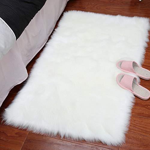 Elegante alfombra de piel de oveja sintética ultrasuave, para sala de estar, dormitorio, cuarto de guardería, 1 m x 3 m, color blanco
