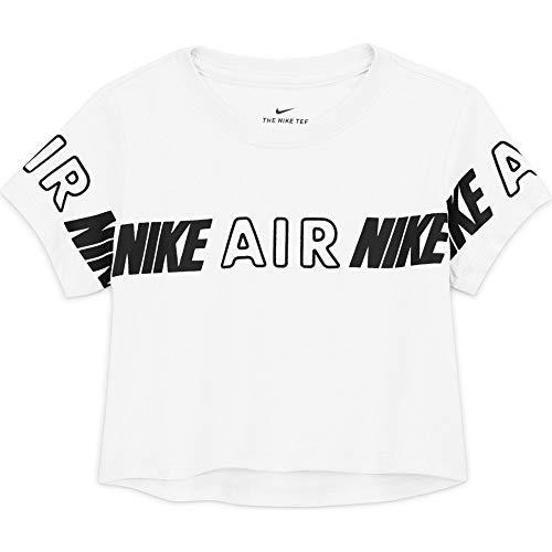 Nike Crop Air - Camiseta de manga corta para niña, color blanco, XL