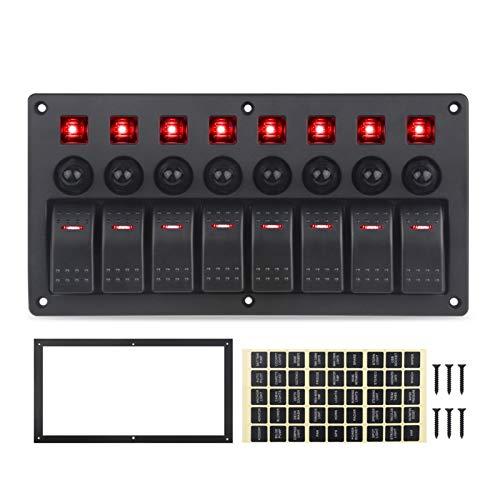 YYOMXXOM Ajuste para el Panel de interruptores de Jeep 8 Gang 12V 20A 24V 10A Impermeable al Agua 5pin Boat Boat Marine Coche 12V Rocker LED Panel Interruptor con interruptores (Color : Red)