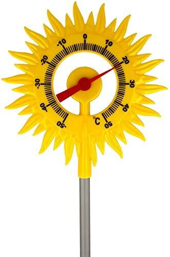 Lantelme Gartenthermometer Sonne mit Metall Erdspieß 60 cm Garten Deko für Außen Kunststoff Thermometer + - 50°C 8109