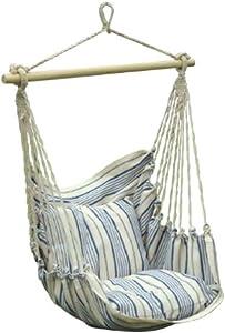 Pappillon - Sedia A Dondolo 1 Posto con Telo in Cotone Colore Bianco Naturale/Blu