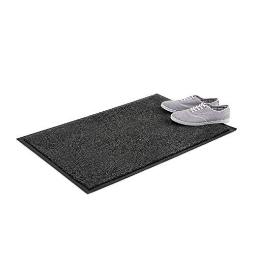 Relaxdays Schmutzfangmatte grau, Fußmatte Innen, Schmutzmatte groß, Fußabtreter dünn, Türmatte 60x90 cm, schwarz-grau