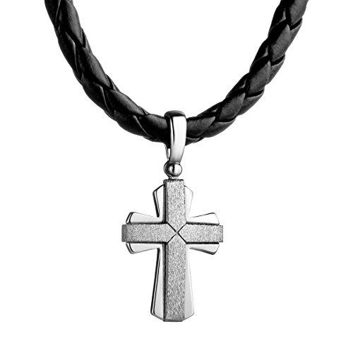 STERLL Collar de cadena de cuero negro para hombre, colgante, cruz, plata 925, regalo para hombres