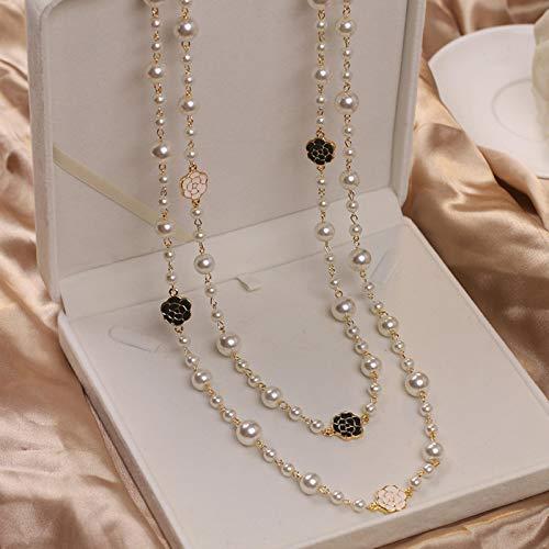 CXWK Collana di Perle Lunghe Multistrato di Camelia di Lusso Collana con Catena di Maglione a Fiori Rosa di Design di Marca per Donna